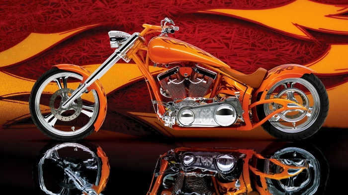 Orange Chopper Motorcycle